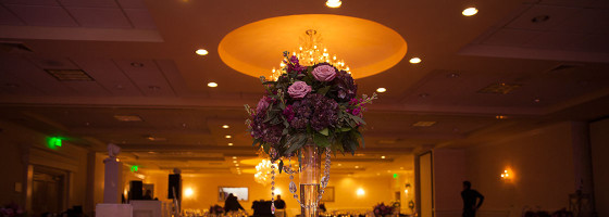 windsor ballroom purple roses centerpiece