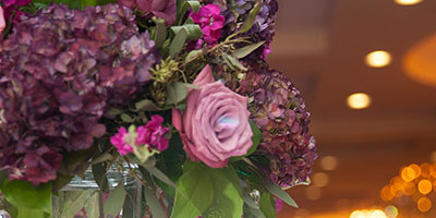 purple roses centerpiece