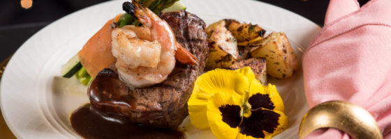 Center-Cut Filet Mignon topped with Grilled Shrimp (shrimp is an additional cost per person)