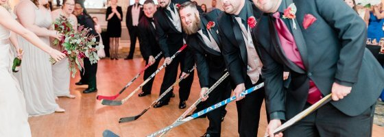 hockey sticks at a wedding
